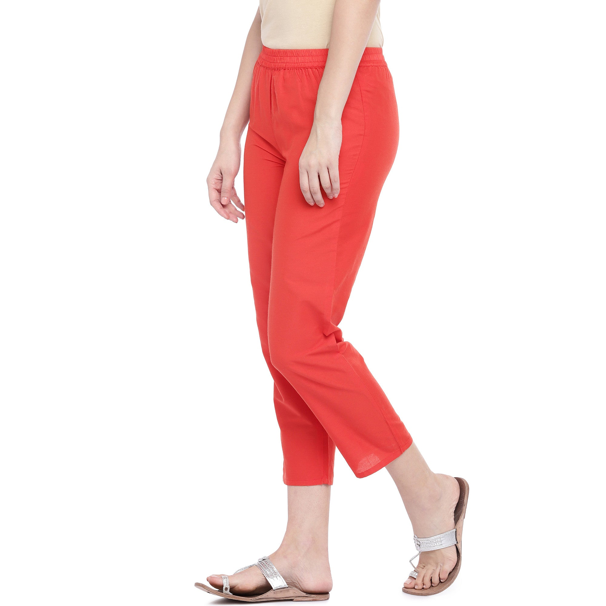 Red Regular Fit Solid Regular Trousers-2