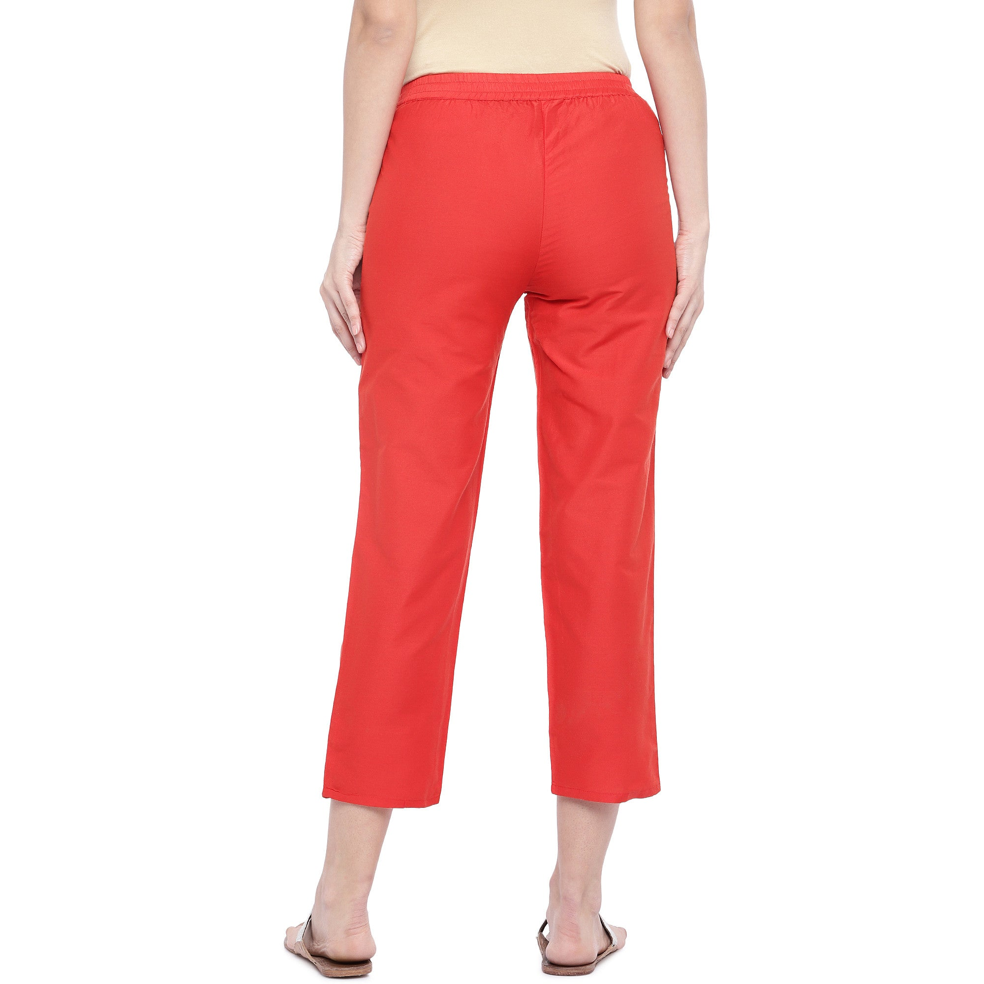 Red Regular Fit Solid Regular Trousers-3
