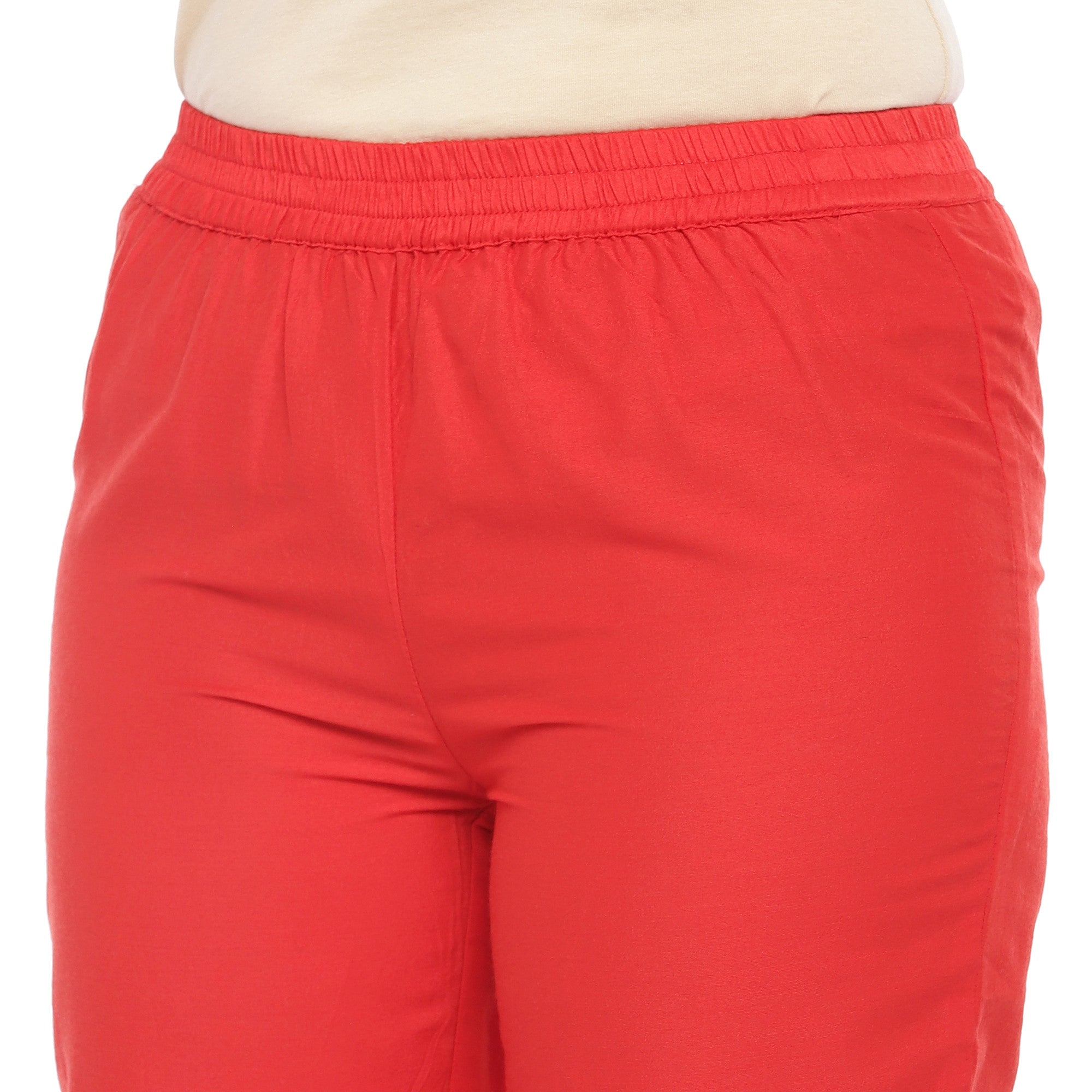 Red Regular Fit Solid Regular Trousers-5