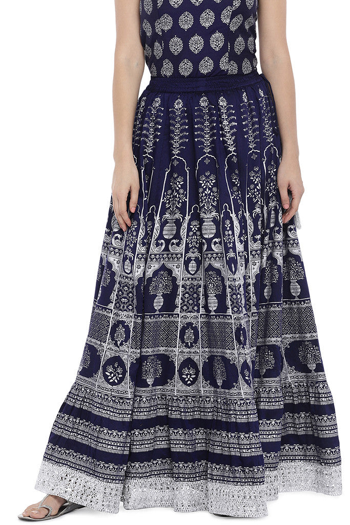 Navy Blue Printed Maxi Skirt-1
