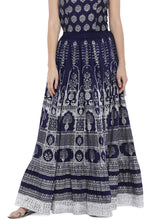 Load image into Gallery viewer, Navy Blue Printed Maxi Skirt-1