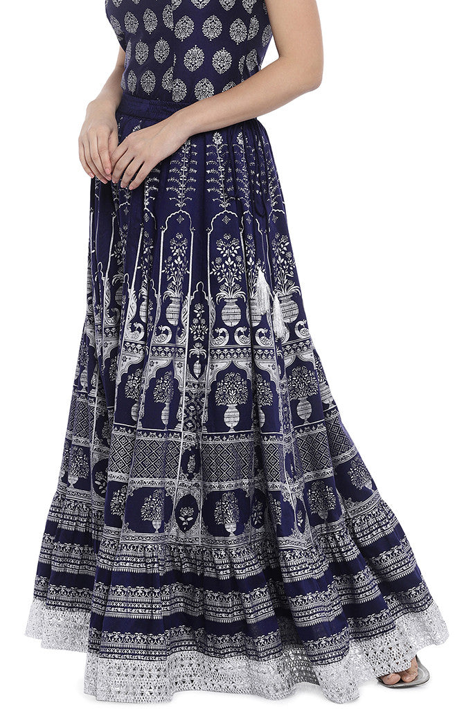 Navy Blue Printed Maxi Skirt-2