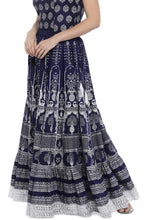 Load image into Gallery viewer, Navy Blue Printed Maxi Skirt-2