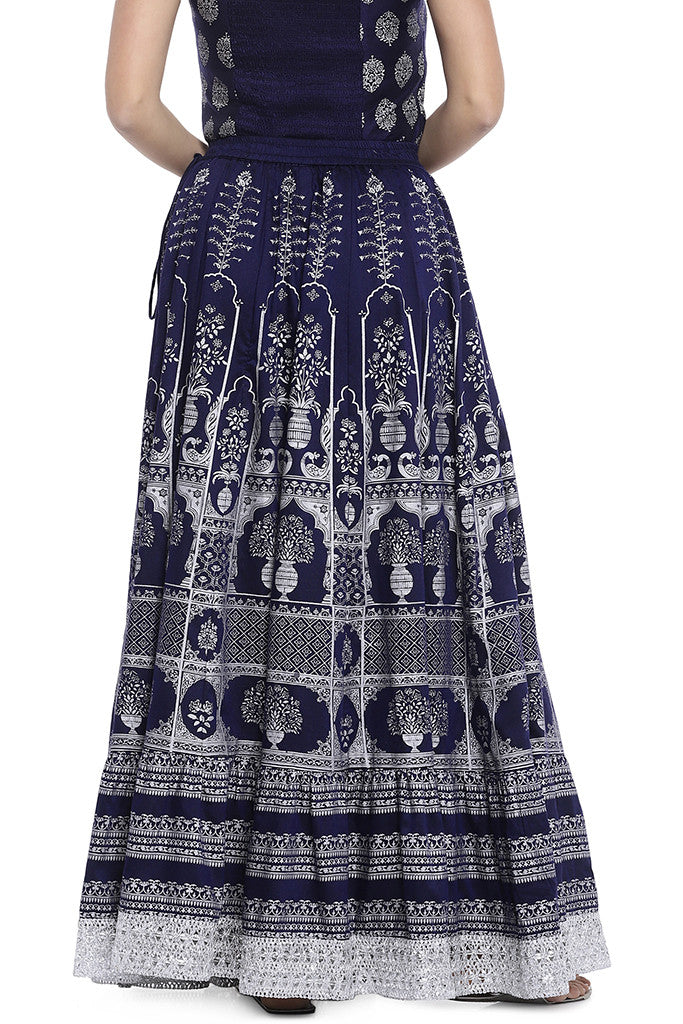 Navy Blue Printed Maxi Skirt-3
