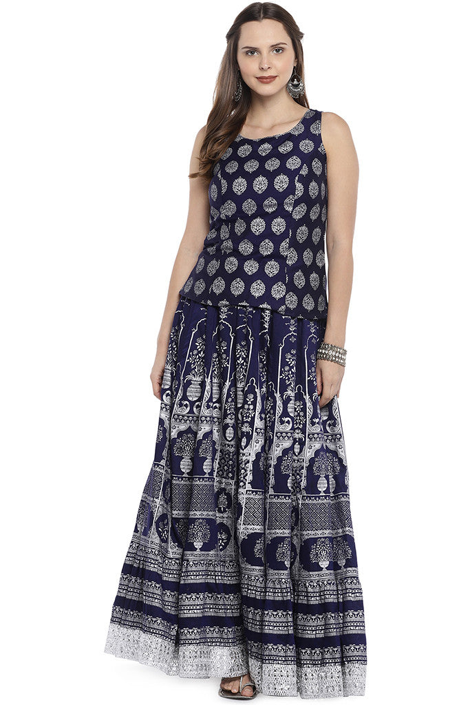Navy Blue Printed Maxi Skirt-4