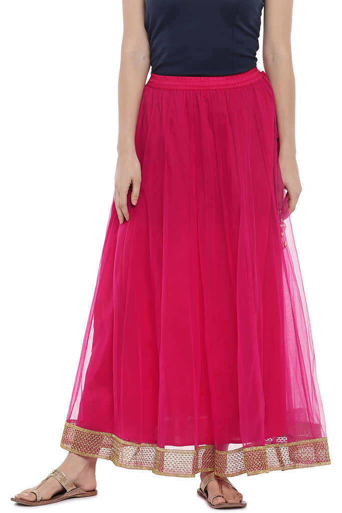Pink Solid Maxi Skirt-1