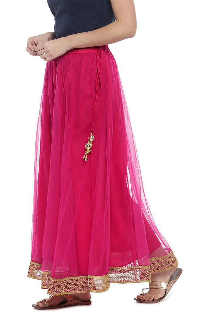 Pink Solid Maxi Skirt-2