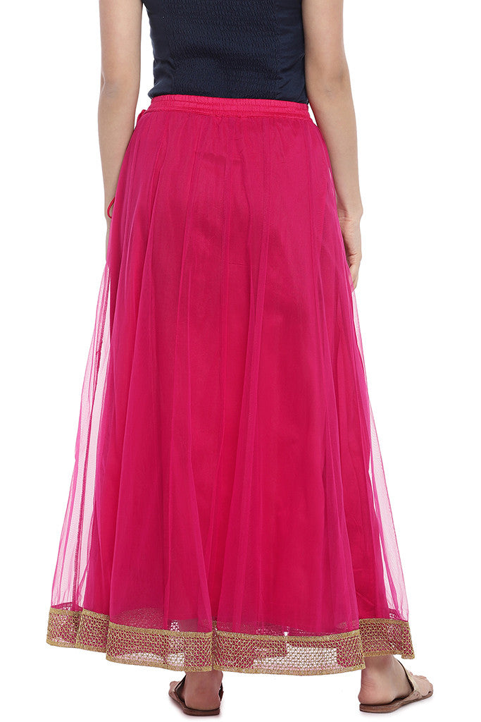 Pink Solid Maxi Skirt-3