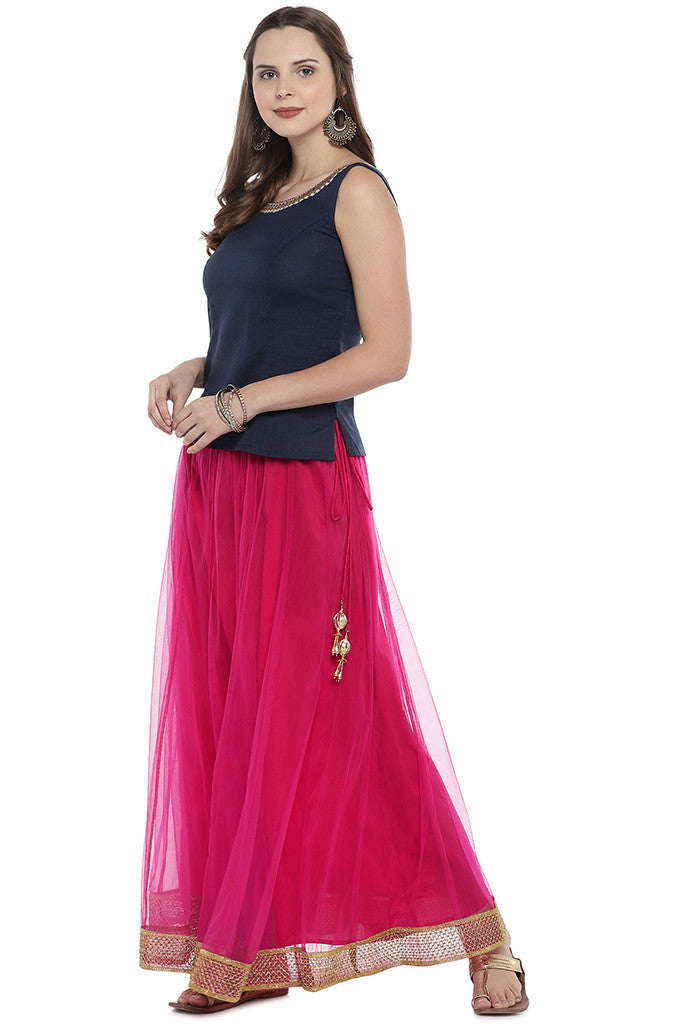Pink Solid Maxi Skirt-4