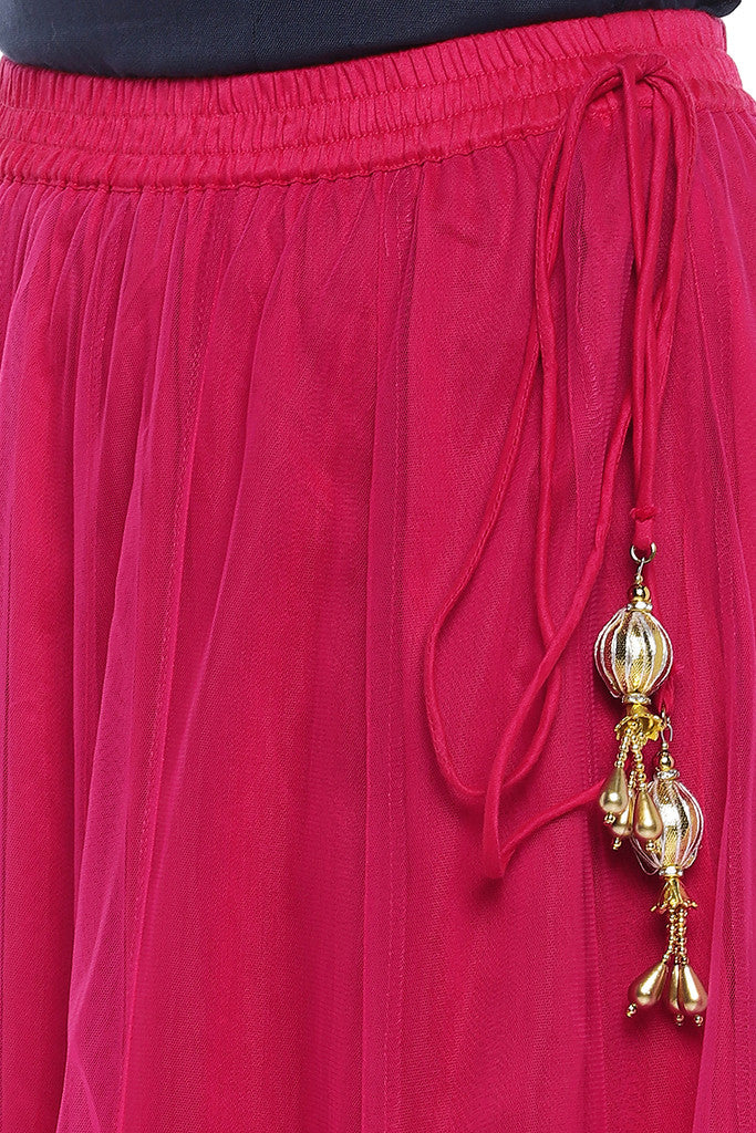 Pink Solid Maxi Skirt-5