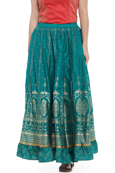 Teal Blue Solid A-Line Maxi Skirt-1