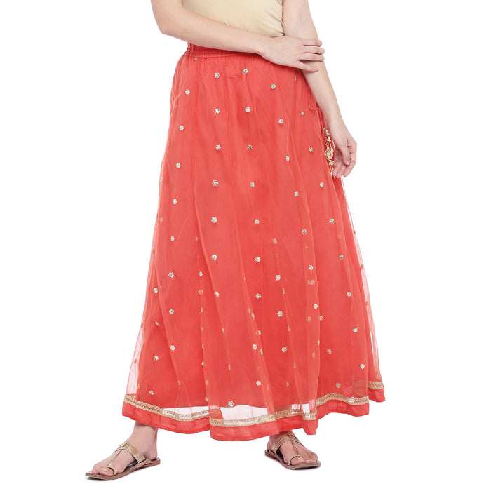 Peach-Coloured Embellished Flared Skirt-1