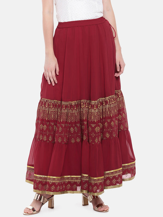 Maroon Foil Printed Maxi A-Line Skirt-1