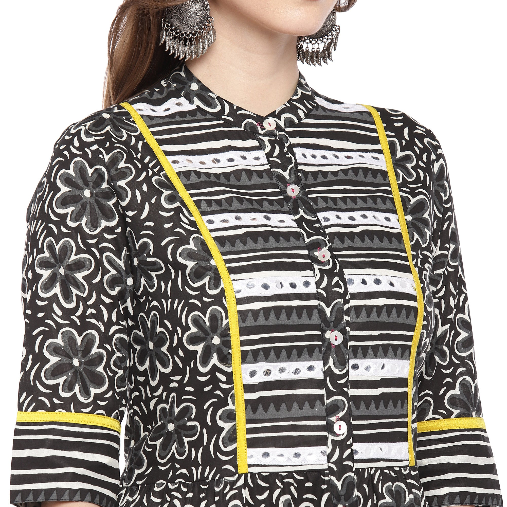 Black Printed Anarkali Kurta-5