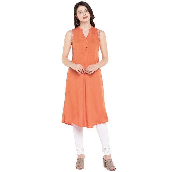 Women Orange Solid A-Line Kurta-1