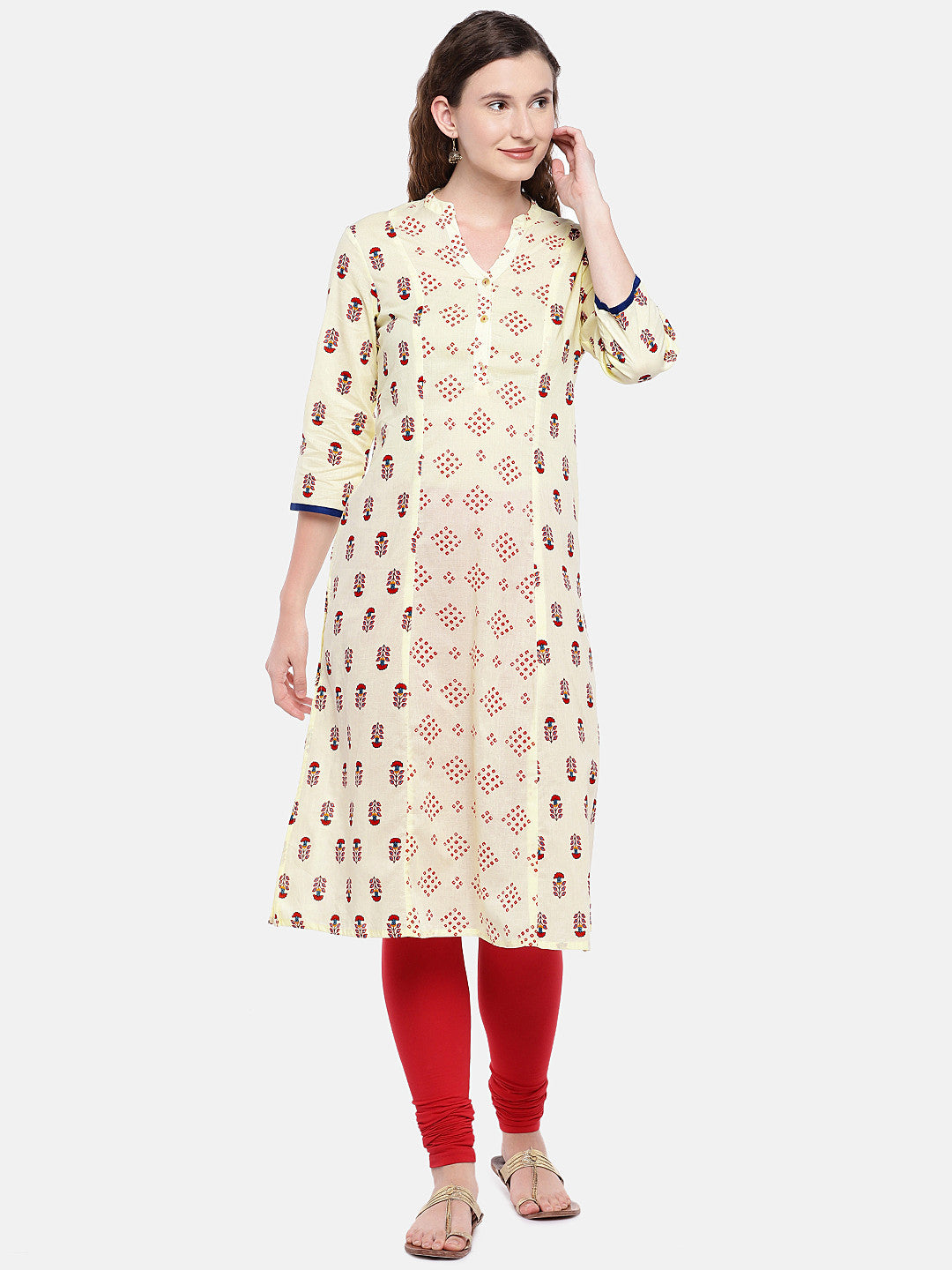 Women Beige & Red Printed Straight Kurta-1