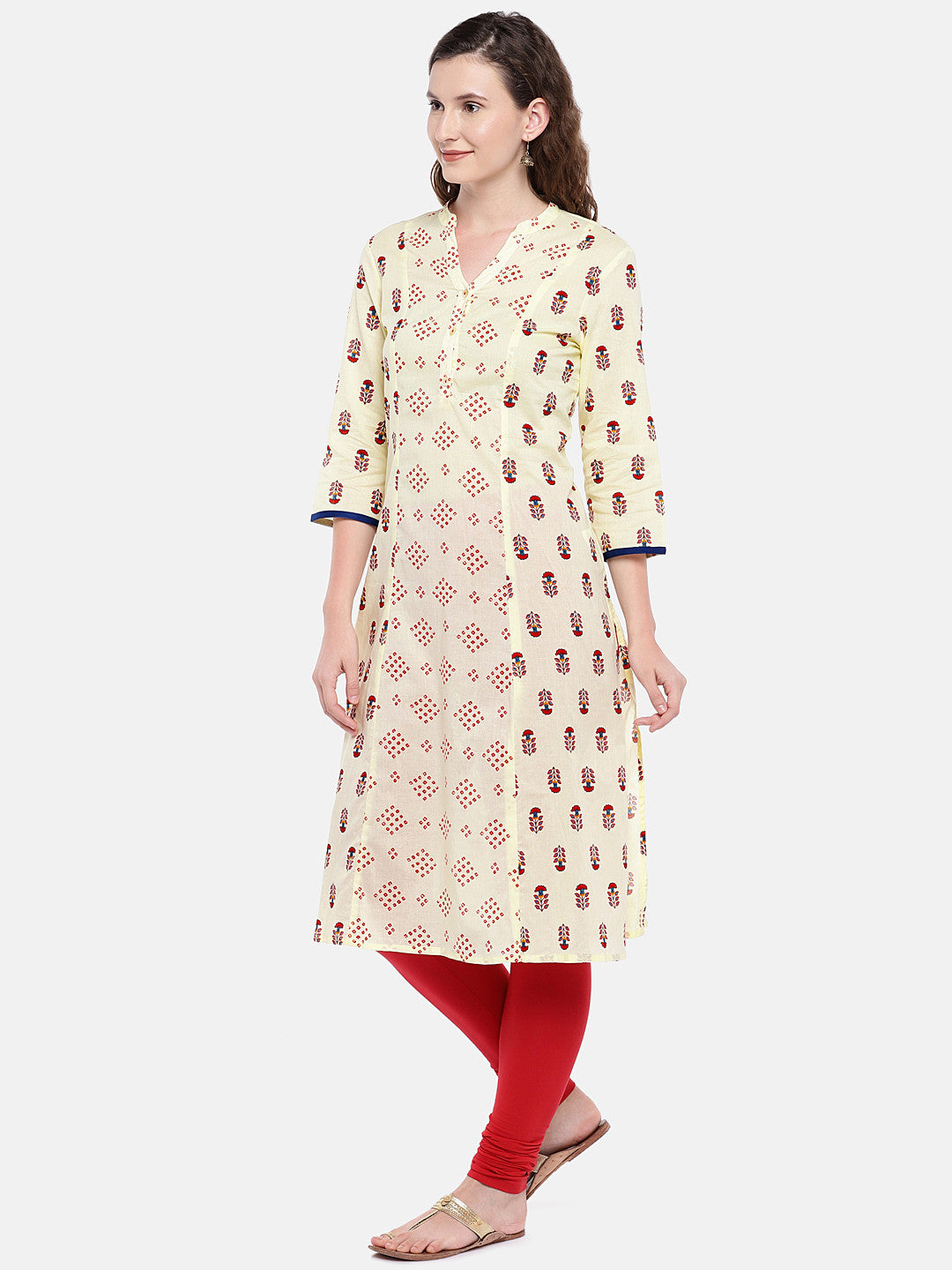 Women Beige & Red Printed Straight Kurta-2