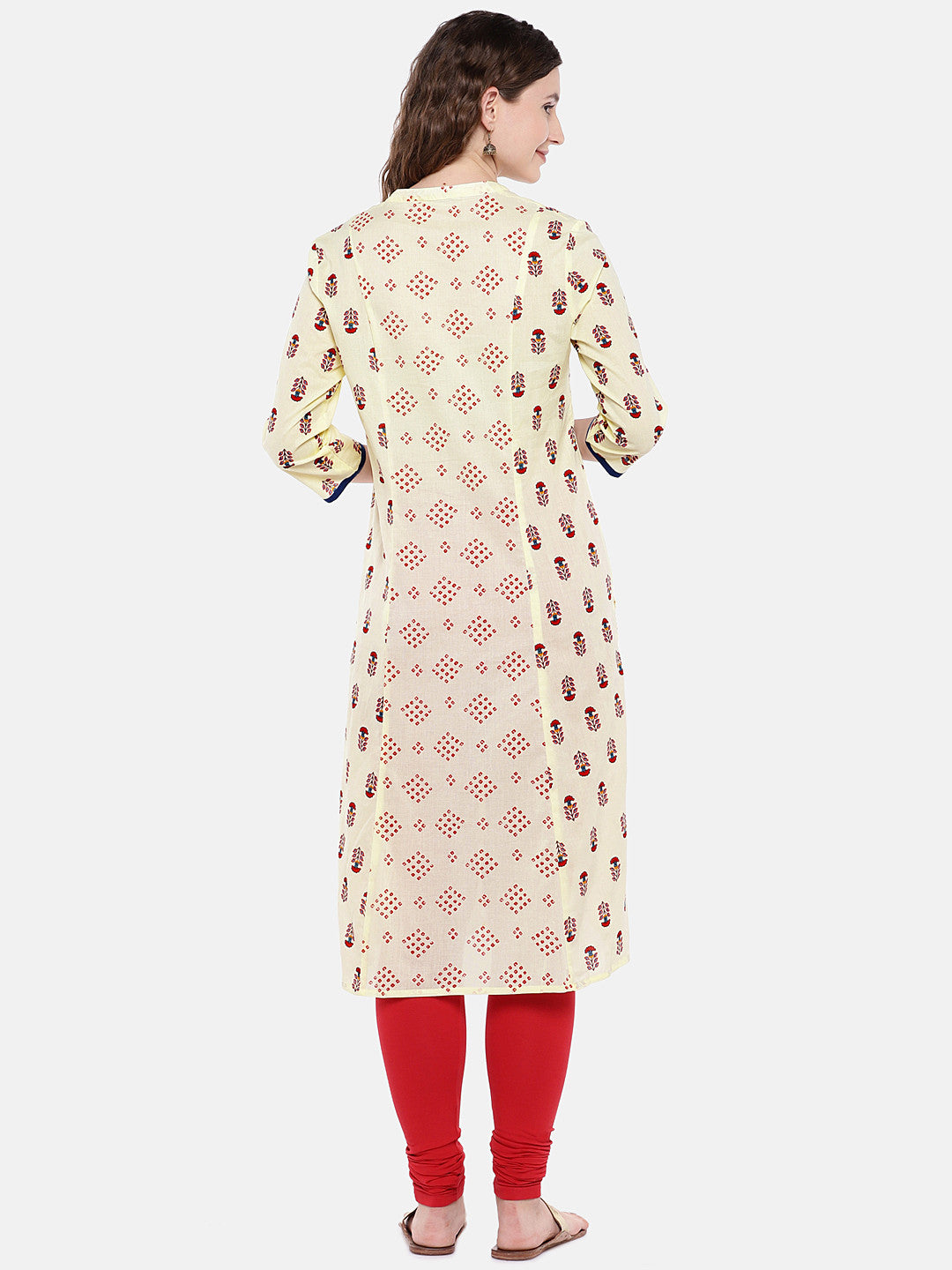 Women Beige & Red Printed Straight Kurta-3