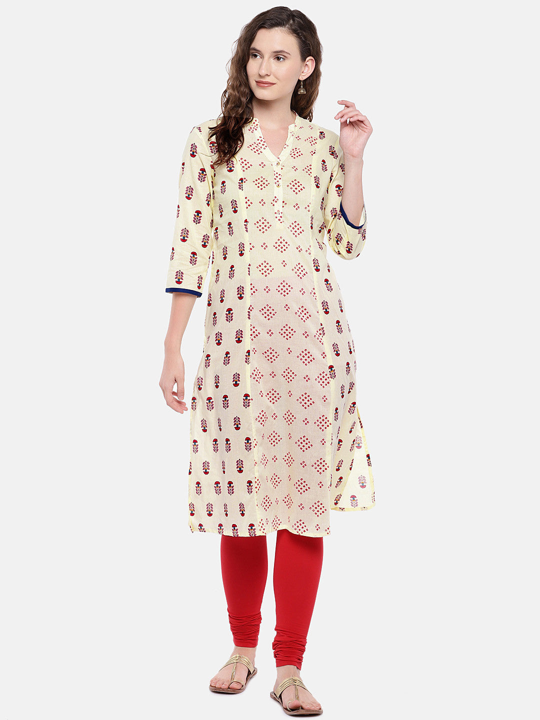 Women Beige & Red Printed Straight Kurta-4