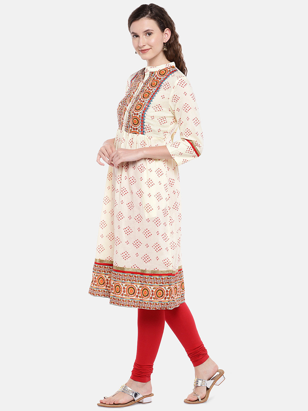 Women Beige & Red Printed A-Line Kurta-2