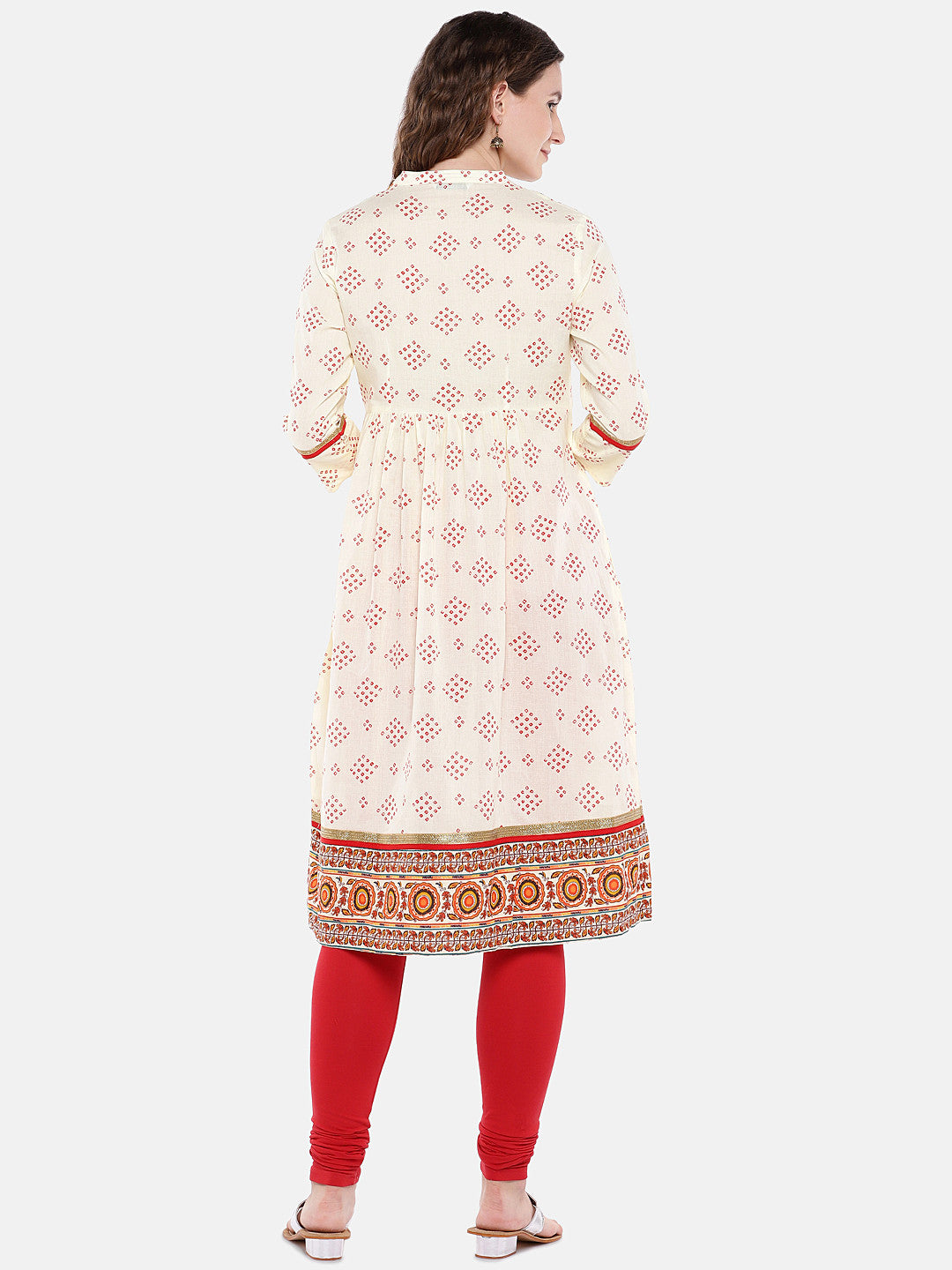 Women Beige & Red Printed A-Line Kurta-3