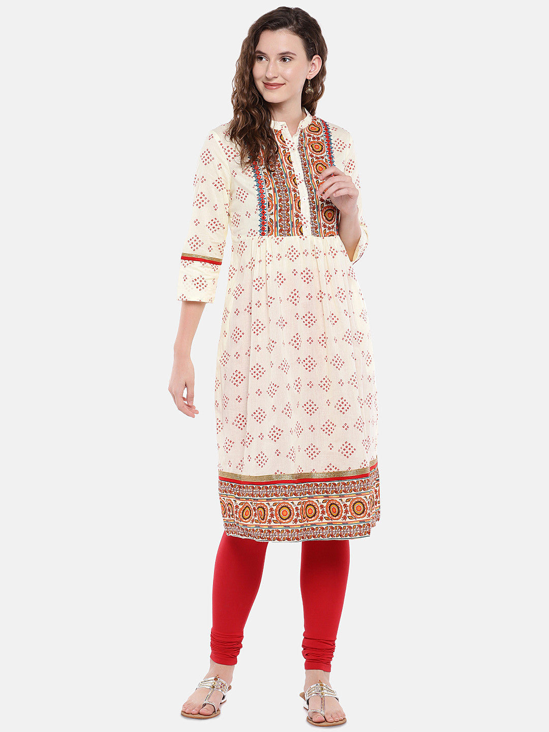 Women Beige & Red Printed A-Line Kurta-4