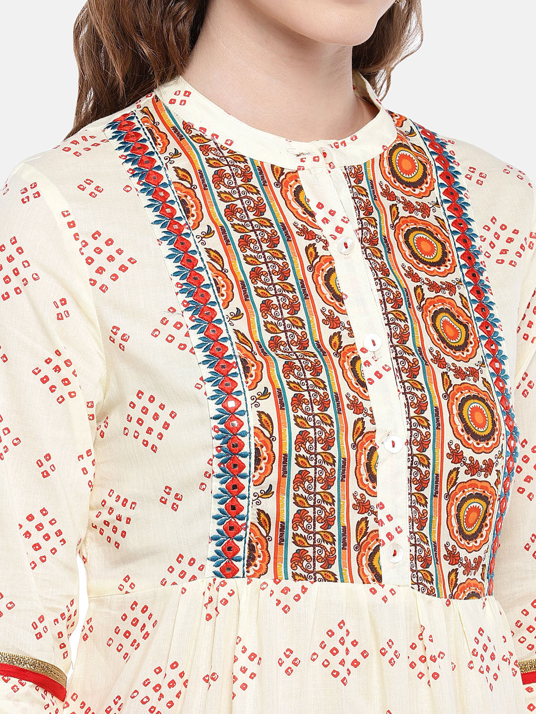 Women Beige & Red Printed A-Line Kurta-5