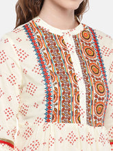 Load image into Gallery viewer, Women Beige & Red Printed A-Line Kurta-5
