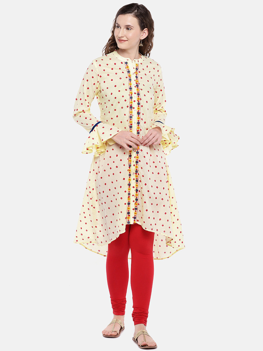 Women Beige Printed Straight Kurta-1