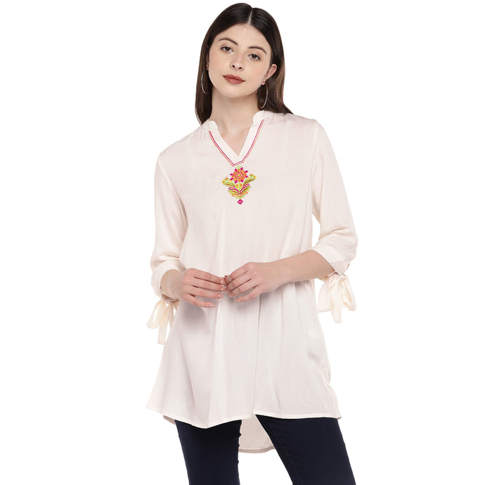 Women Beige Solid Tunic-1