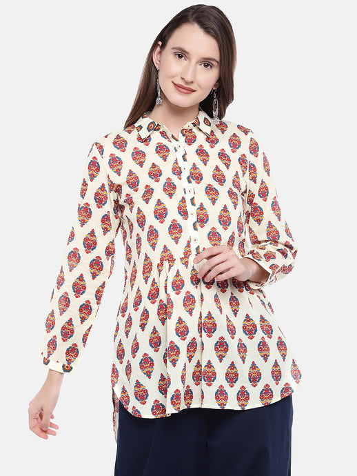 Women Beige Printed Tunic-1