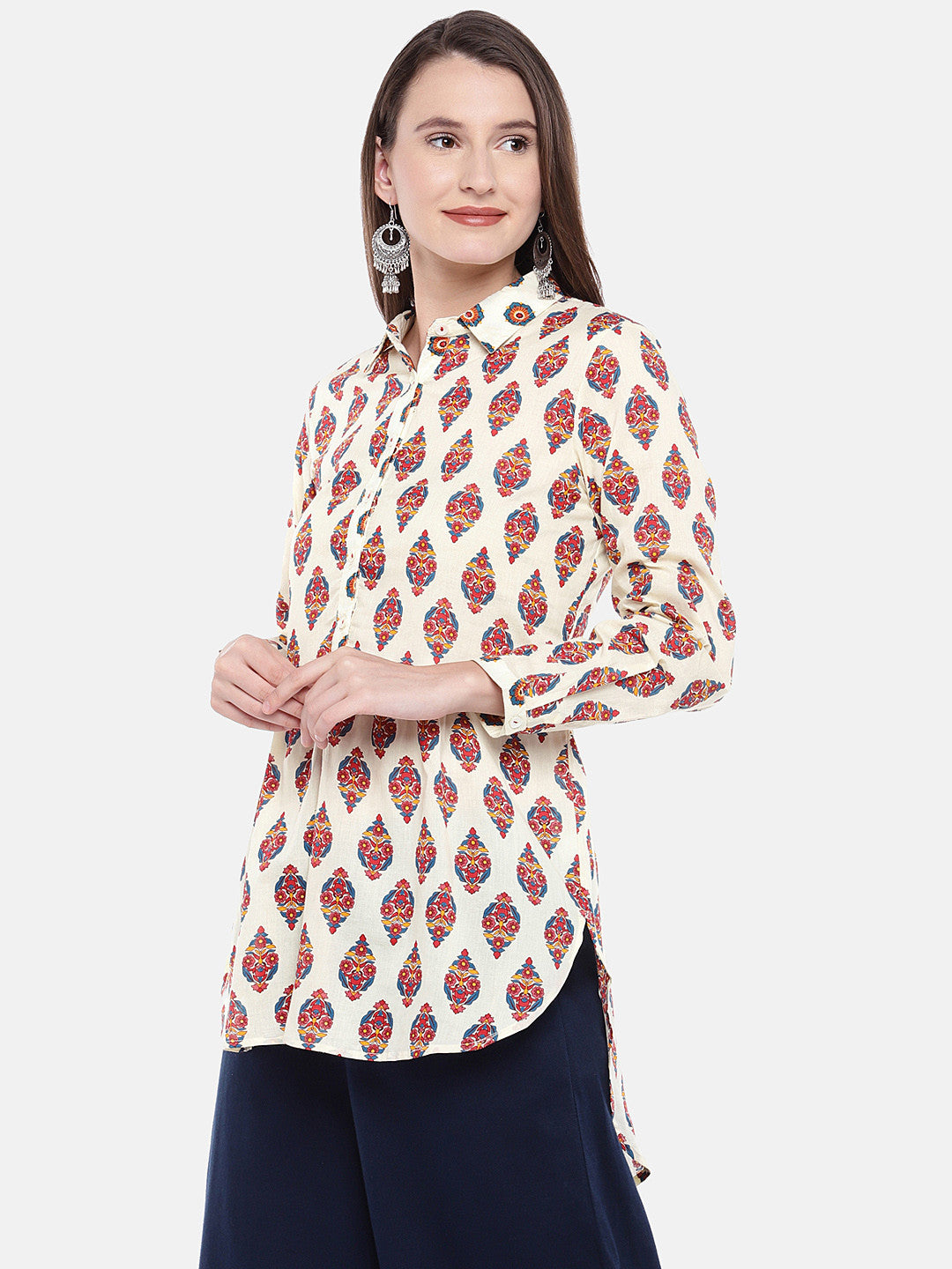 Women Beige Printed Tunic-2