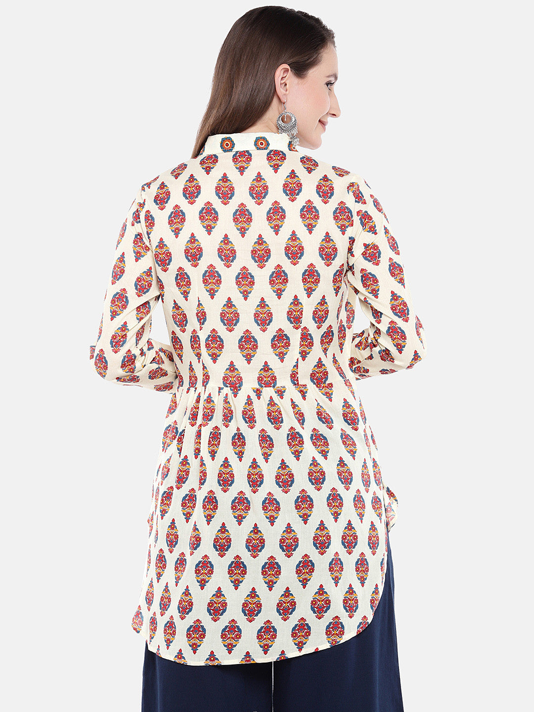 Women Beige Printed Tunic-3