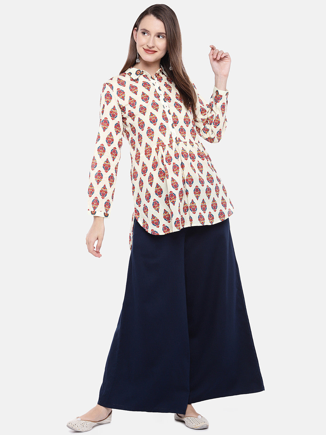 Women Beige Printed Tunic-4