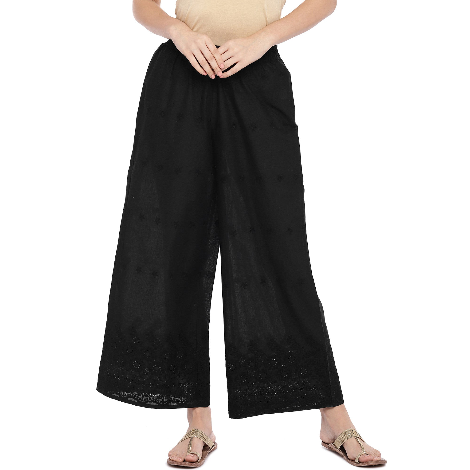 Black Wide Leg Solid Palazzos-1