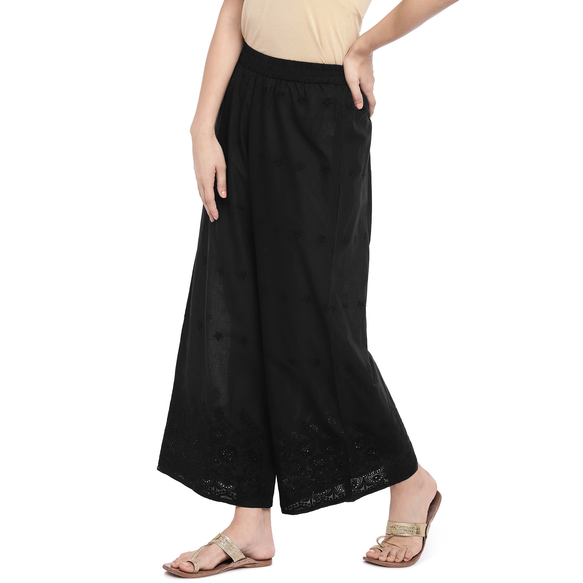 Black Wide Leg Solid Palazzos-2