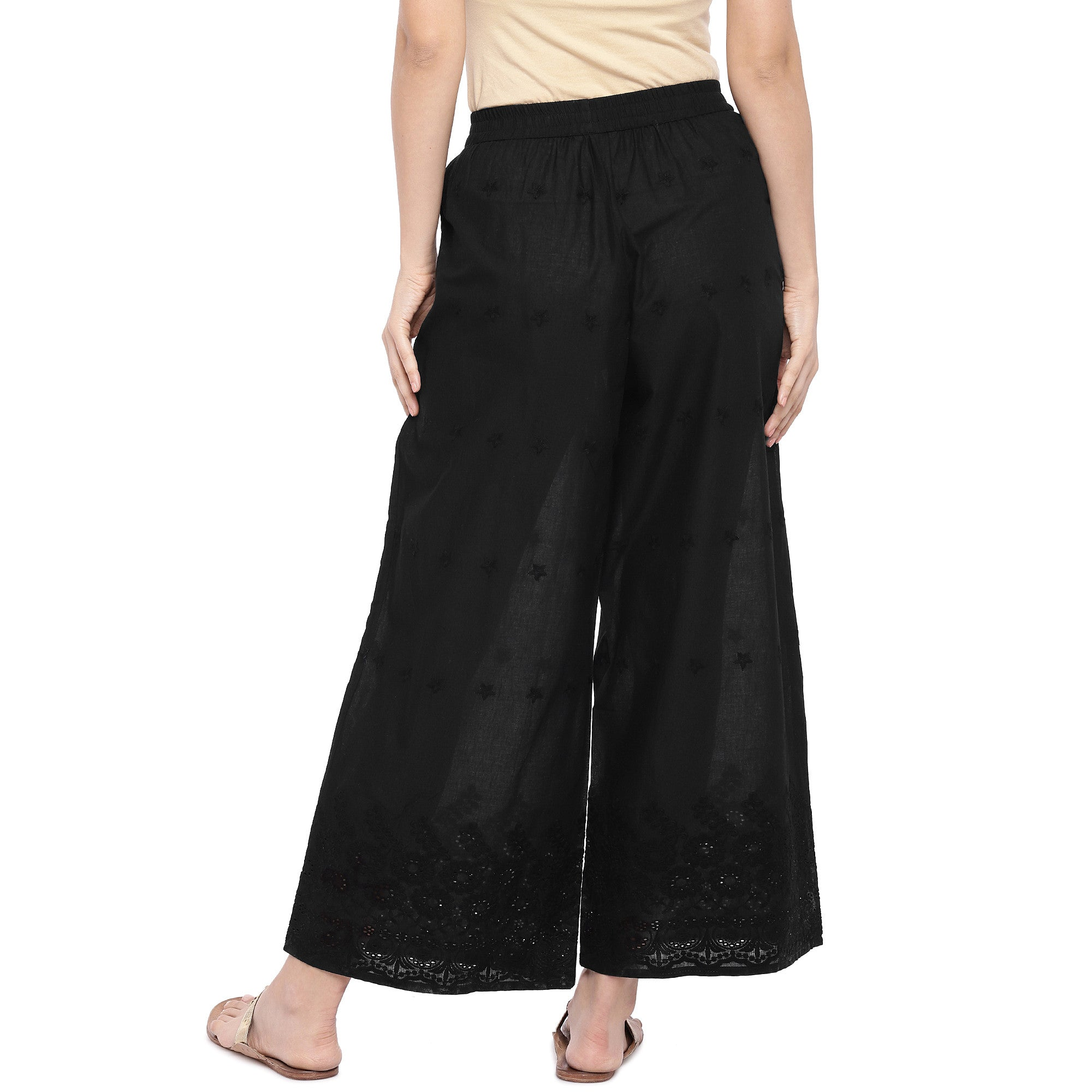 Black Wide Leg Solid Palazzos-3