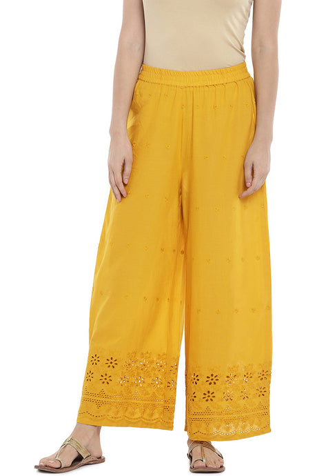 Yellow Regular Fit Embroidered Regular Trousers-1
