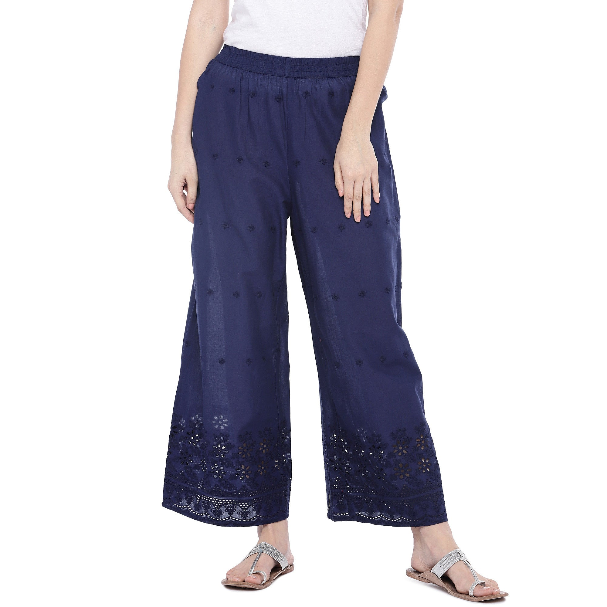 Navy Blue Loose Fit Self Design Anti Fit Trousers-1