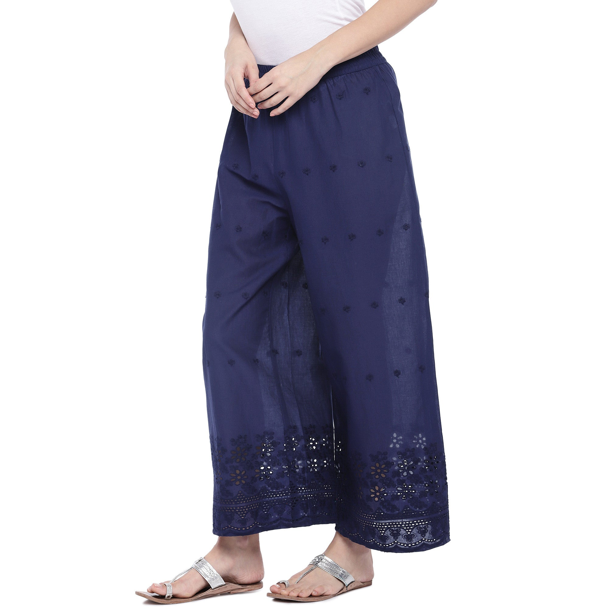 Navy Blue Loose Fit Self Design Anti Fit Trousers-2