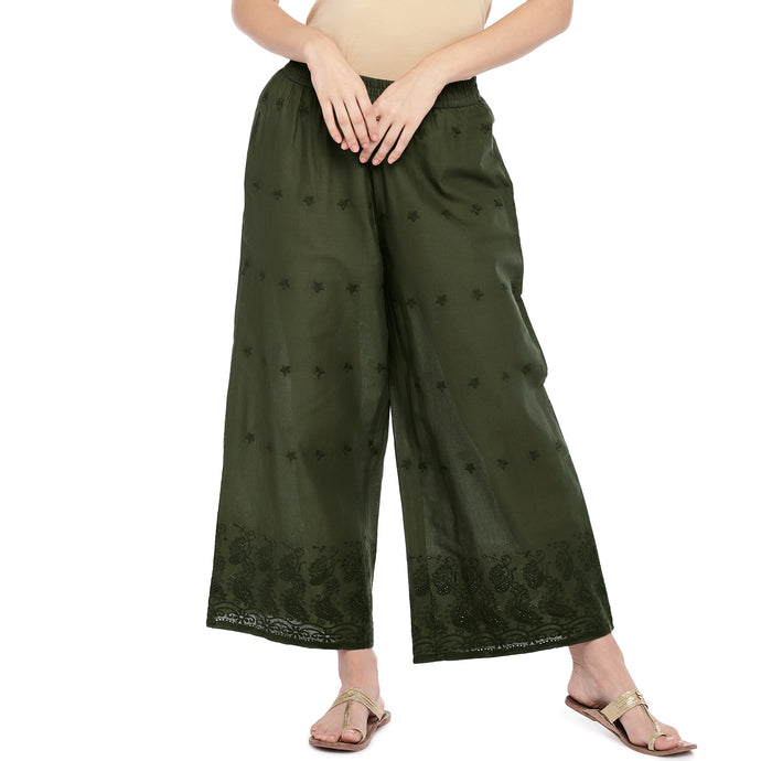 Olive Green Straight Self Design Palazzos-1