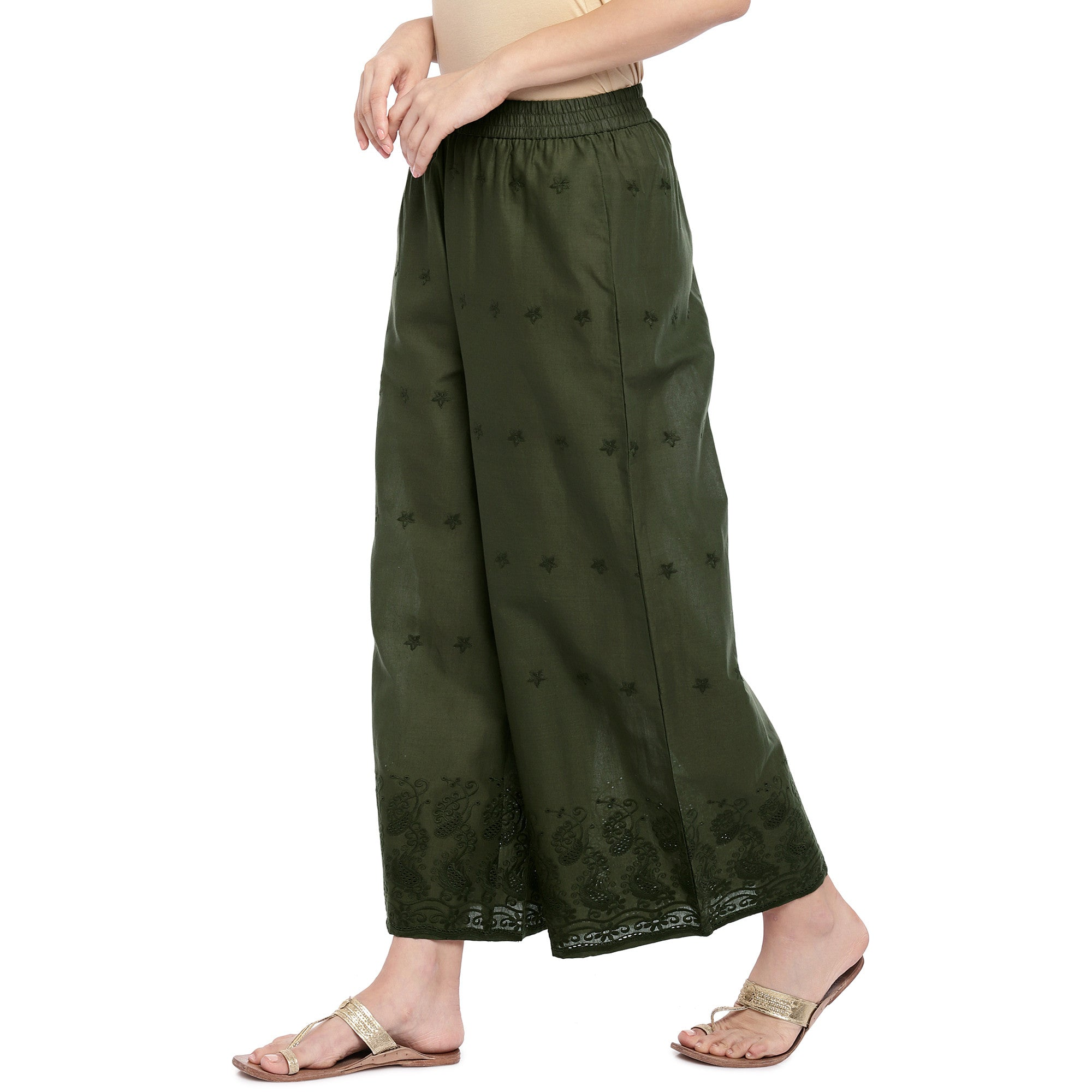 Olive Green Straight Self Design Palazzos-2