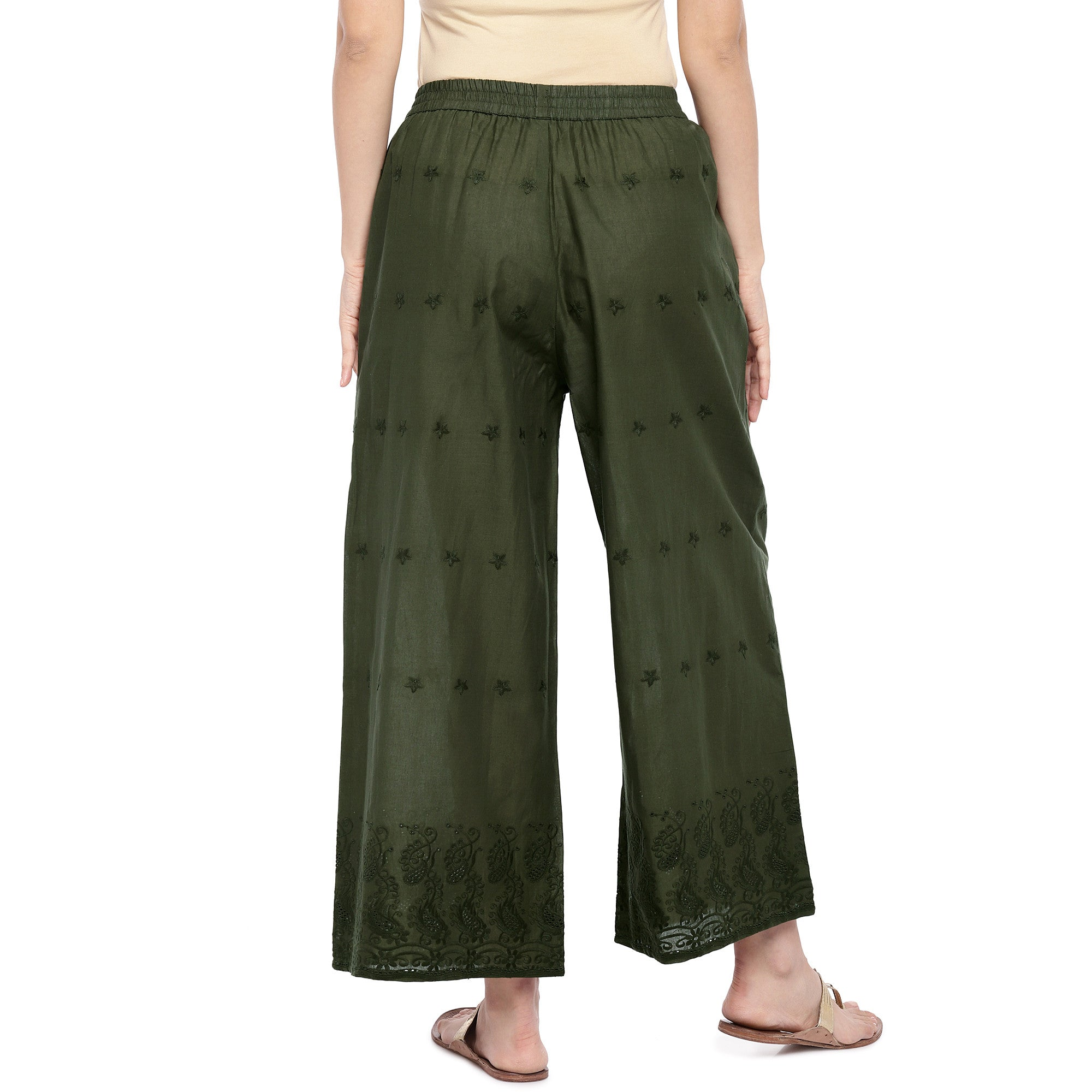 Olive Green Straight Self Design Palazzos-3