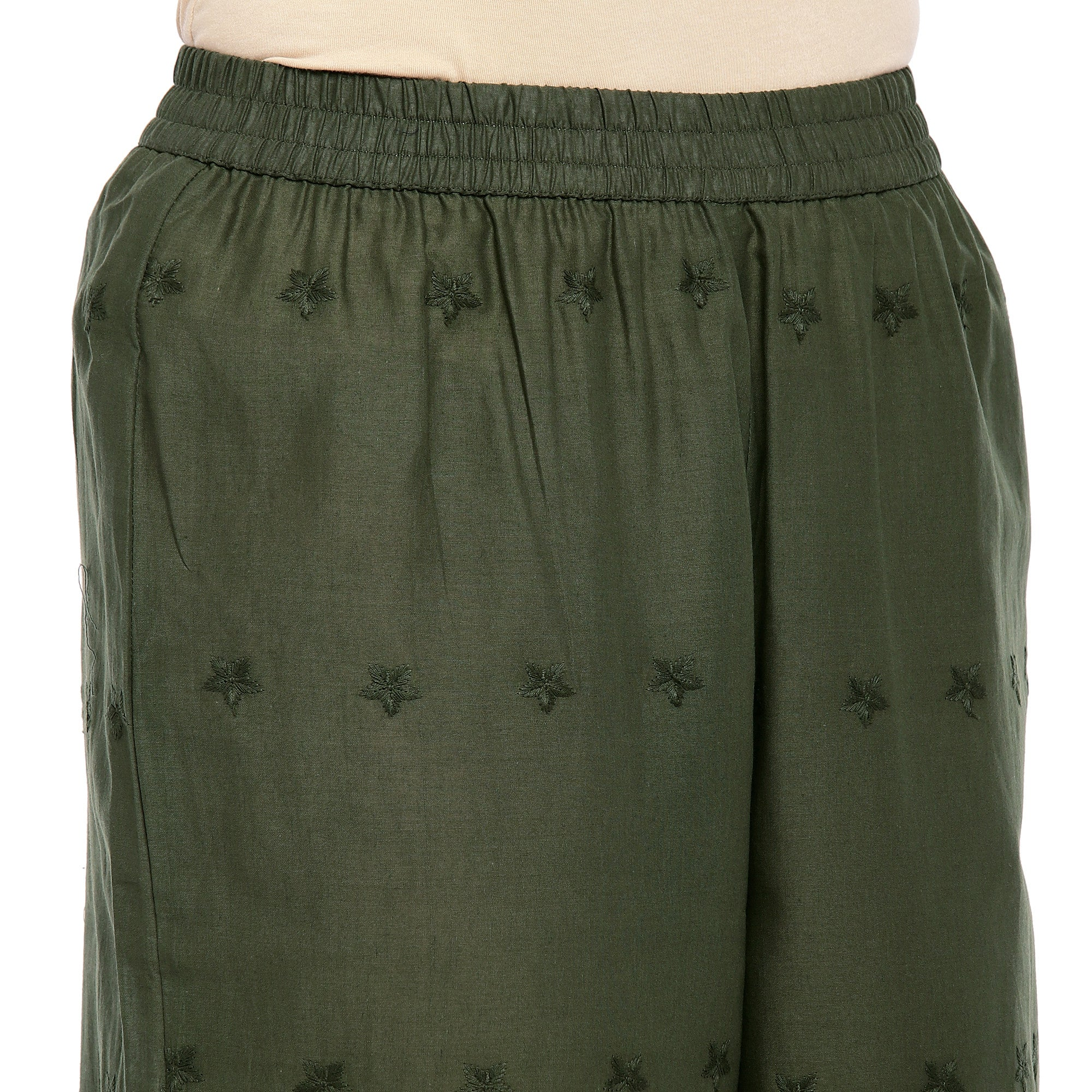 Olive Green Straight Self Design Palazzos-5