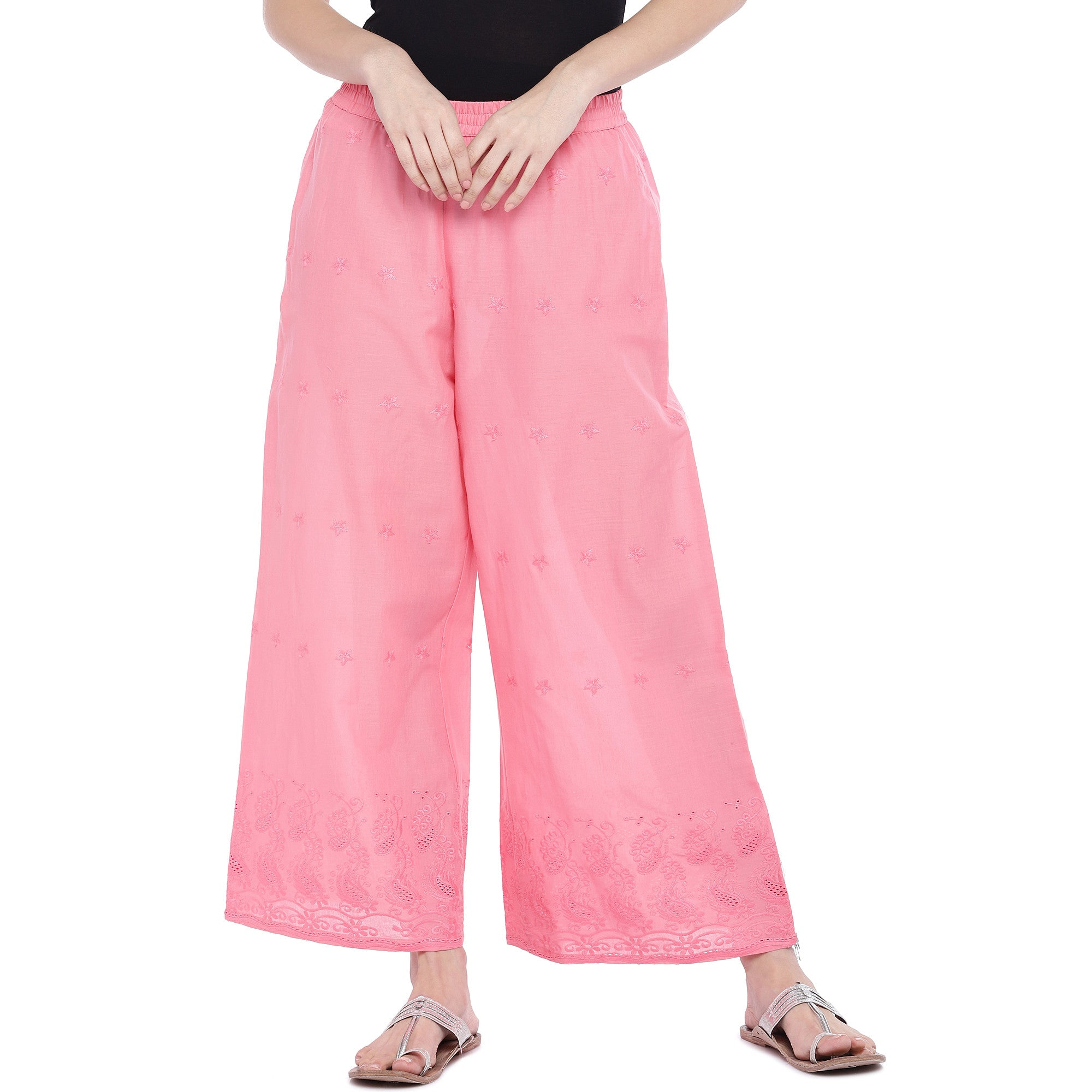 Pink Loose Fit Self Design Anti Fit Trousers-1