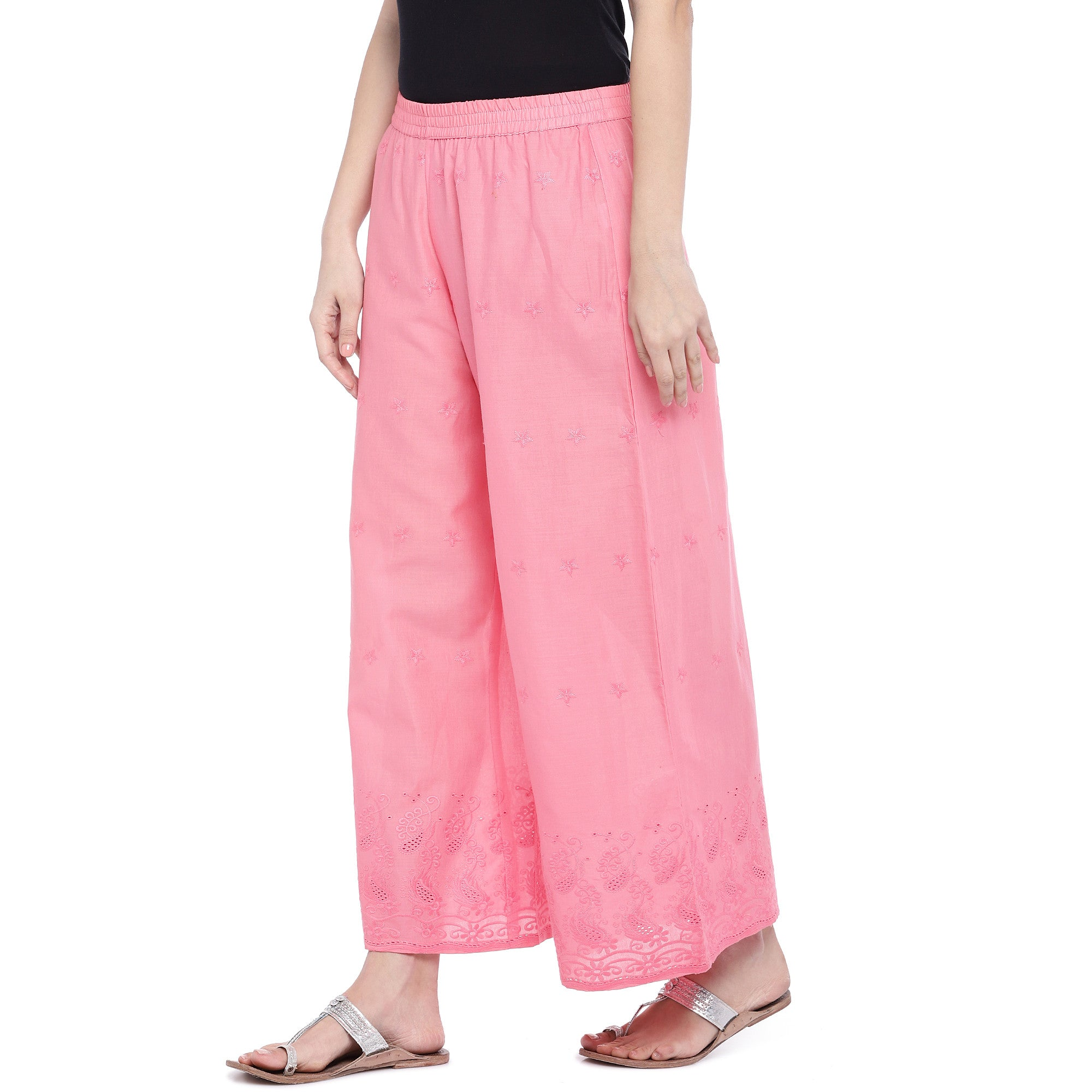 Pink Loose Fit Self Design Anti Fit Trousers-2