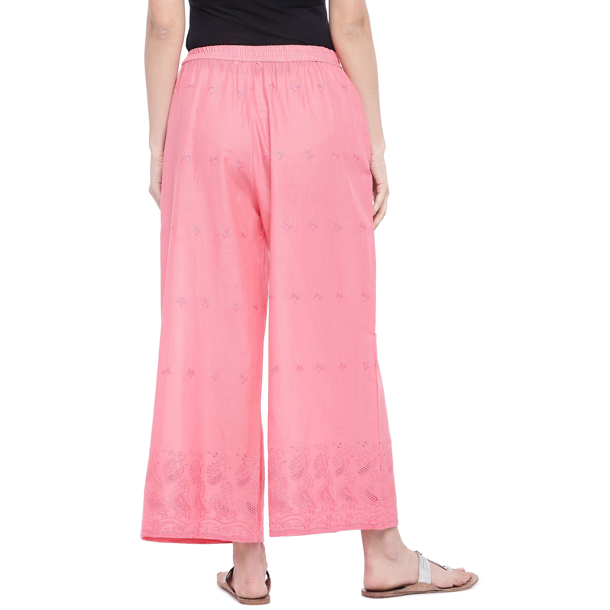 Pink Loose Fit Self Design Anti Fit Trousers-3
