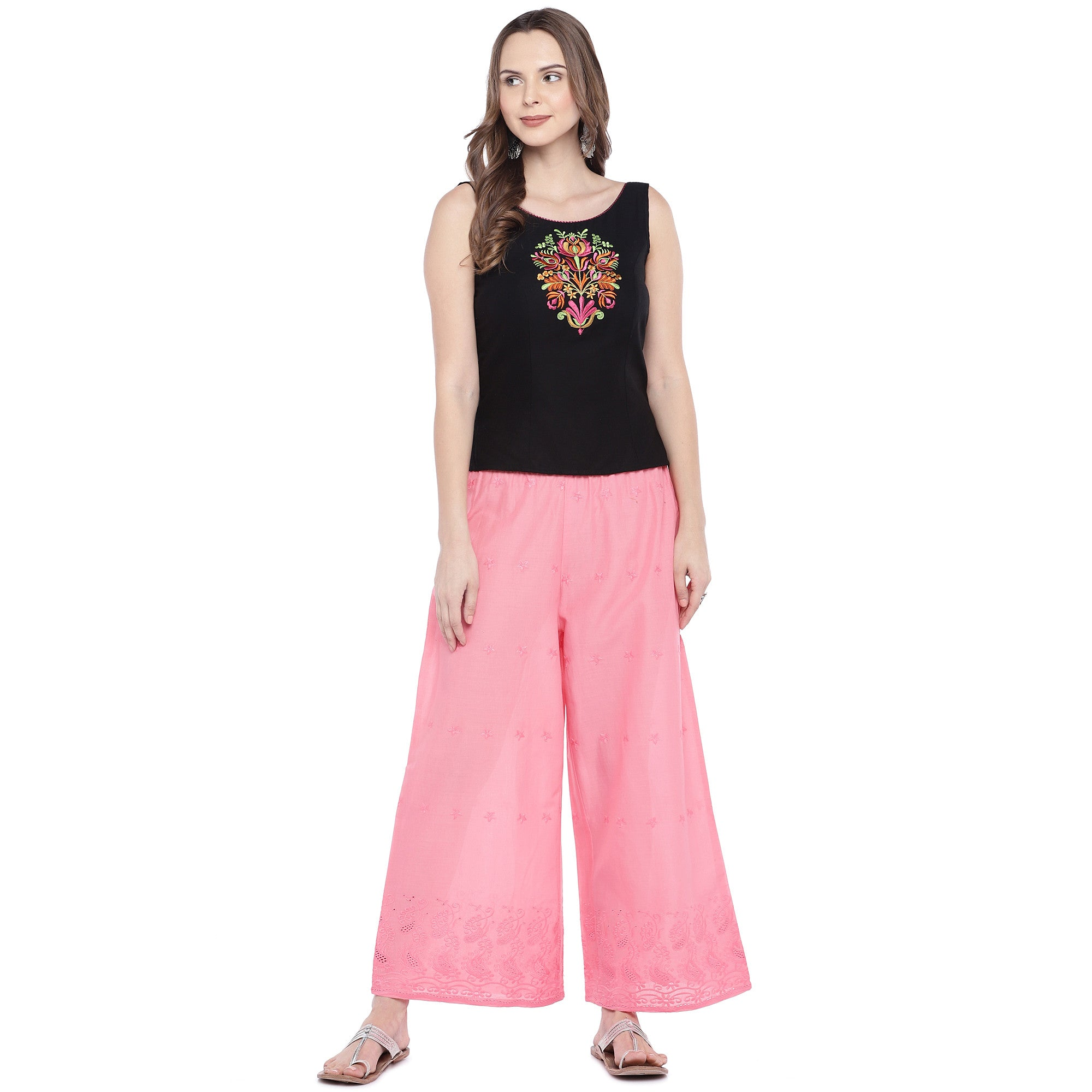 Pink Loose Fit Self Design Anti Fit Trousers-4