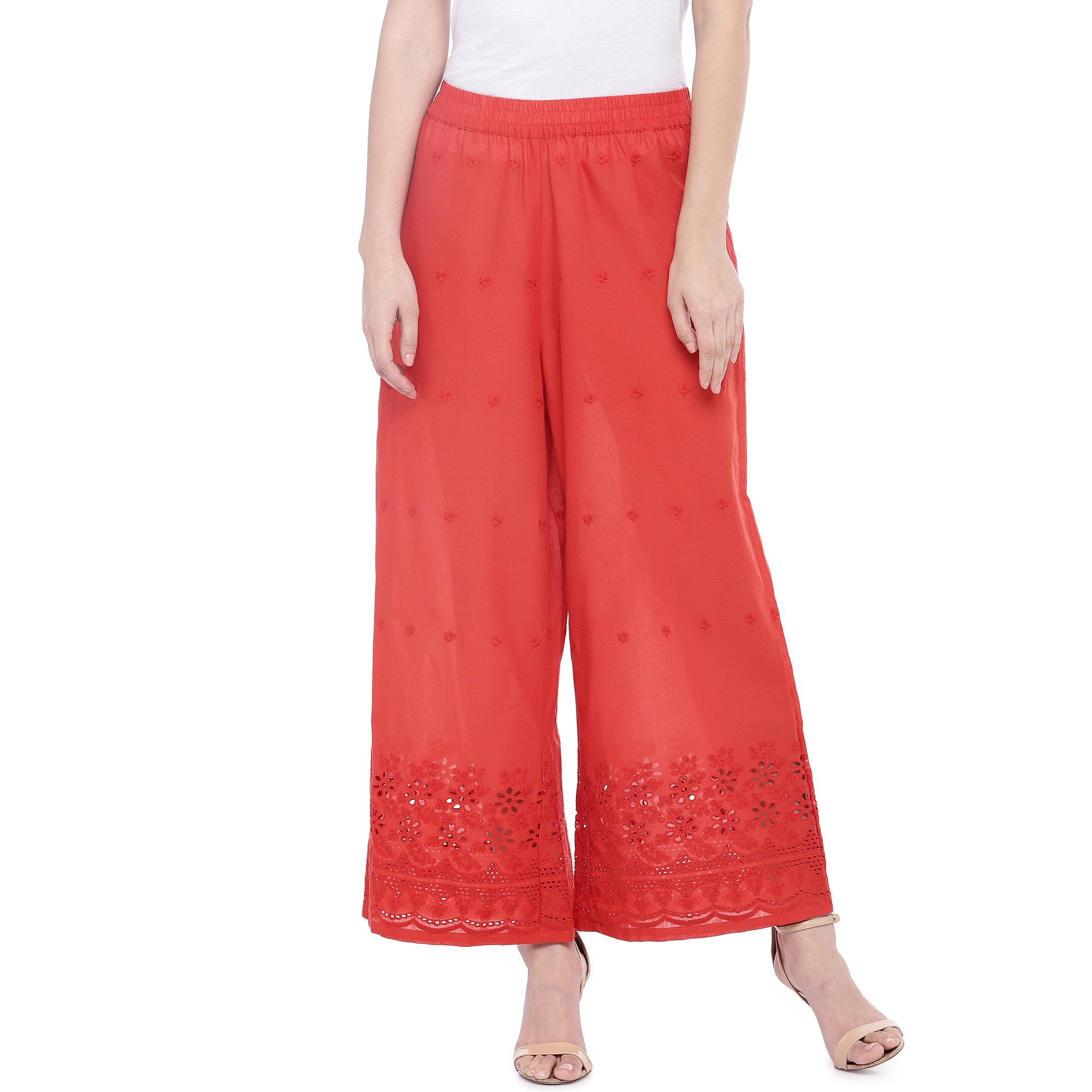 Red Loose Fit Self Design Anti Fit Trousers-1