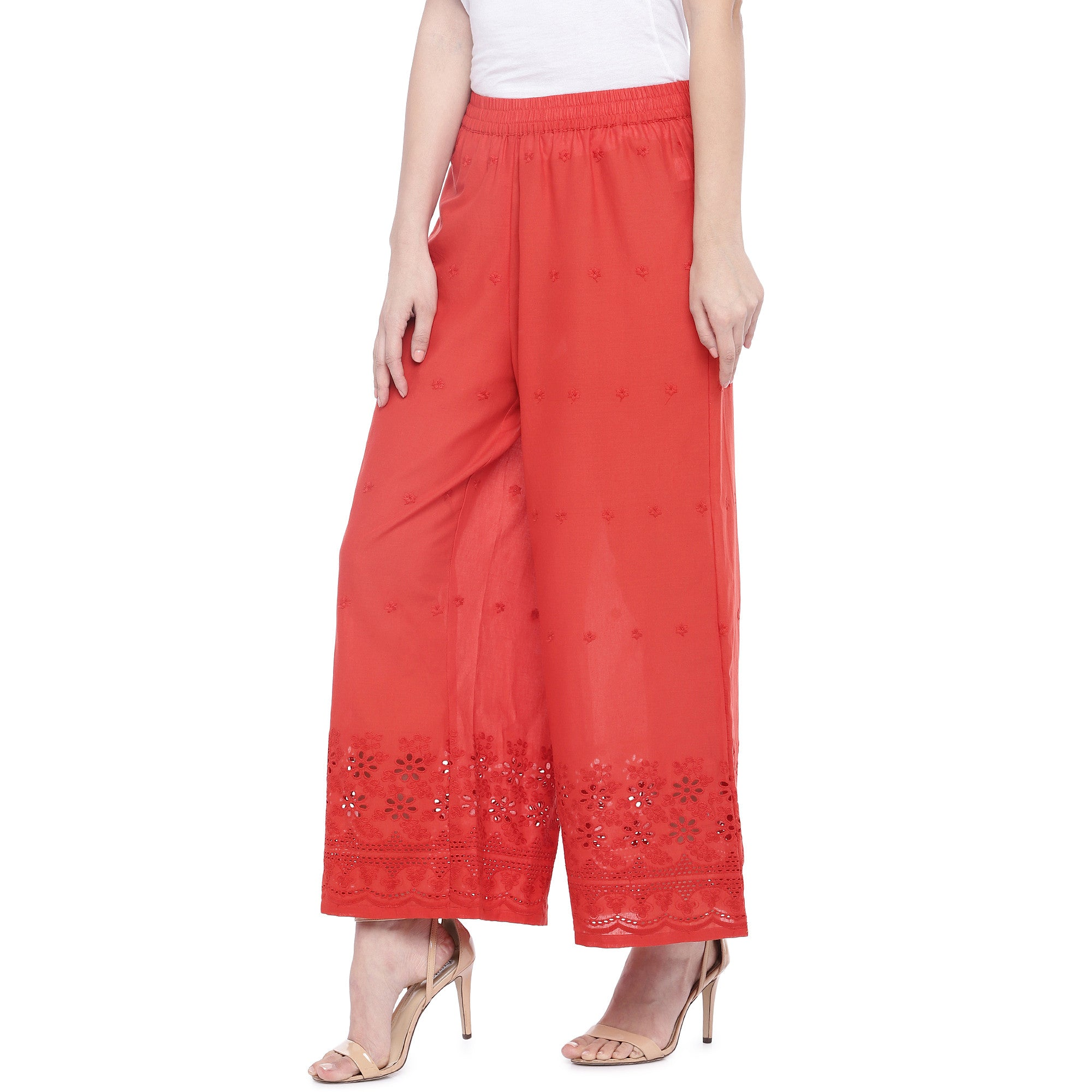 Red Loose Fit Self Design Anti Fit Trousers-2